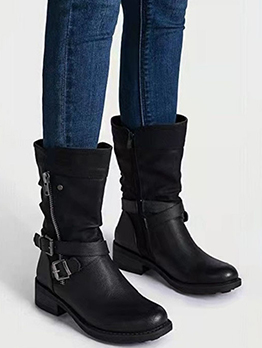 Western Solid Color Zipper Up Boots