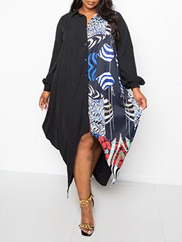 Casual Loose Print Plus Size Shirt Dress
