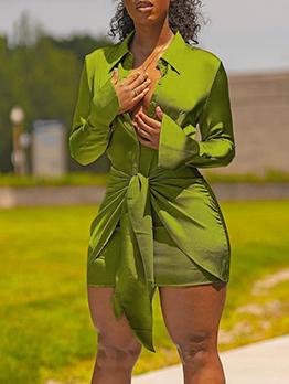 New Pure Long Sleeve Shirt Dress For Women
