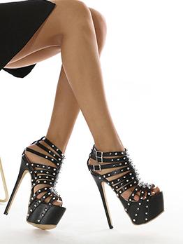 Chic Rivet Platporms Super High Heeled Roman Shoes