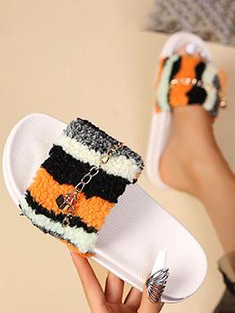 Summer Fluffy Contrast Color Slide Slippers