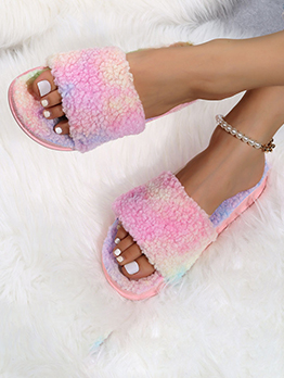 Comfort Colored Fluffy Homewear Slide Slippers