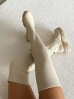 Fashion Solid Patchwork Knitting Over The Knee Boots