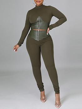 Sporty Solid Patchwork Zipper Up Ladies Suit