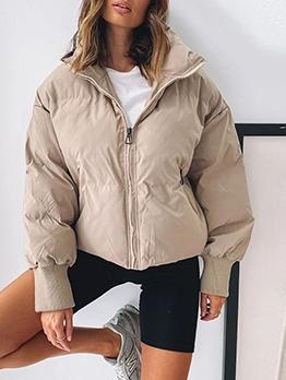 Fashion Solid Zipper Up Long Sleeve Down Coat