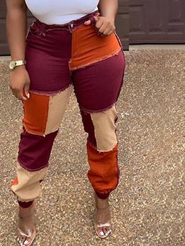 Street Contrast Color Patchwork Mid Waist Jeans