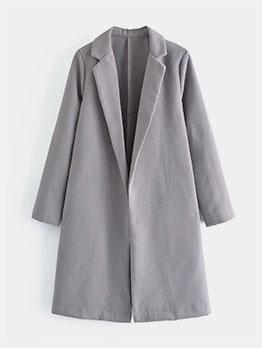 Trendy Solid Notch Collar Midi Coat For Women