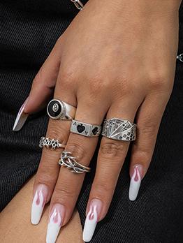 Vintage Fashion Geometry Punk Rings Set
