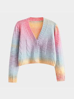 Preppy Style Tie Dye Cropped Cardigan Sweater