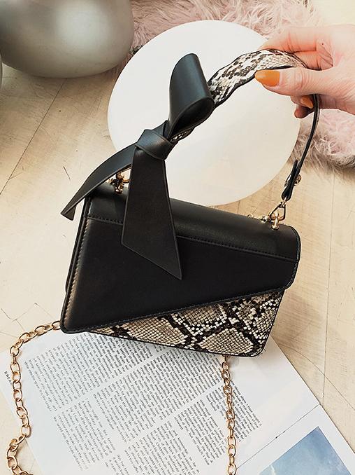 Fashion Snake Print Chain Design Handbags