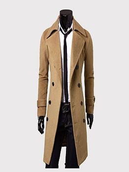 Euro Style Lapel Collar Woolen Long Coat For Men