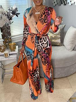 Fashion V Neck Leopard Long Sleeve Jumpsuits