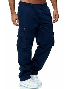 Loose Solid Multiple Pocket Men Cargo Pants
