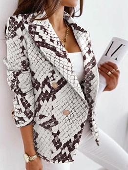 Autumn Leisure Snake Print Blazer For Women