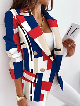 Stylish Work Contrast Color Women Blazer Coat