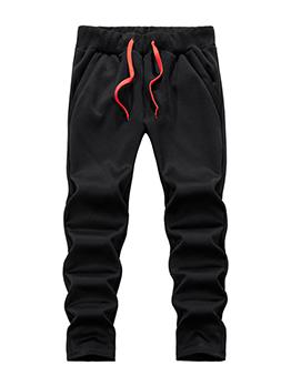 Casual Plain Black Drawstring Plus Velvet Winter Pants
