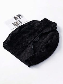 New Arrival Solid Zipper Up Fleece Couple Coat
