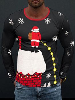 Santa Claus Print Long Sleeve Tee Shirts