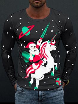 Christmas Print Santa Claus Horse Funny T-Shits