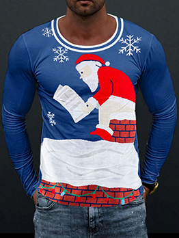 Cute Contrast Color Christmas Tee Shirts