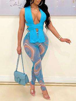 Fashion Nightclub Sexy Top And Print Pants Set