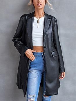 Fashionable Plain Black Long Sleeve Pu Long Coat