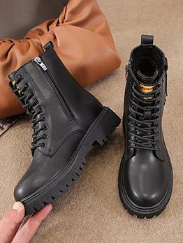 Popular Round Toe Plush Zipper Ankle Boots
