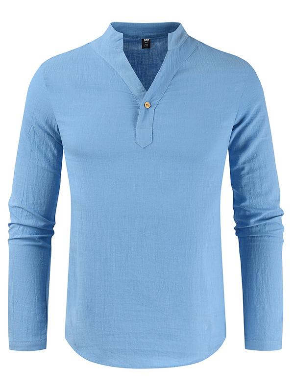 Autumn Solid V Neck Long Sleeve Mens Shirt