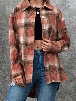 Leisure Plaid Long Sleeve Turn-Down Coat