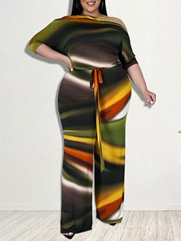 Plus Size Printed Tie-Wrap Long Sleeve Jumpsuit