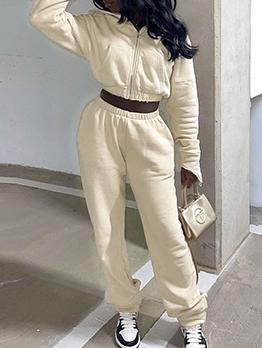 Autumn Zipper Hoodie With Long Pants