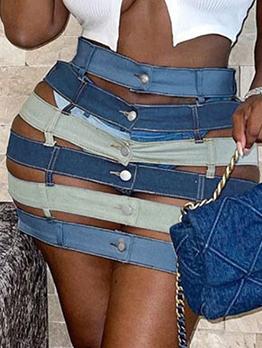 Sexy High Waist Hollow Out Denim Skirt