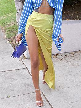 High Waist Ruched Slit Maxi Skirt For Women