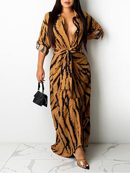 Casual Zebra Printed Loose Shirt Maxi Dress