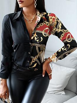 Patchwork Design Fashion Women Blouse