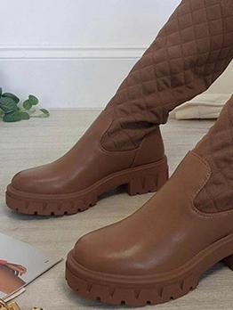 Fashion Round Toe Thick Bottom Knitting Cotton Boots