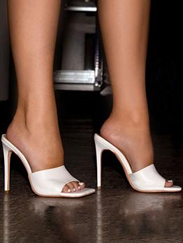 Modern Solid Thin Heels Slip On Heels