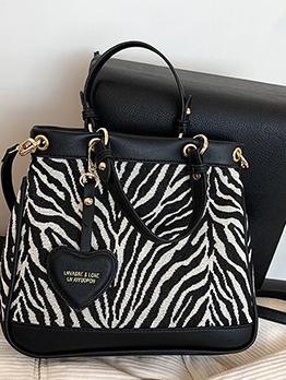 Fashion Printed Heart Pendant Zebra Tote Bag