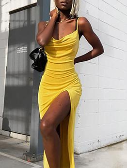 Sexy Low Cut Backless Camisole Midi Dress