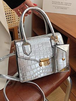 Vintage Alligator Printed Shoulder Handbag With Card Bag