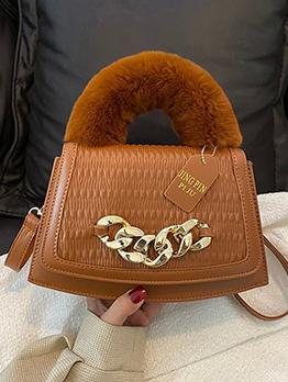 Fashion Fuzzy Handle Chain Patchwork Handbag For Women
