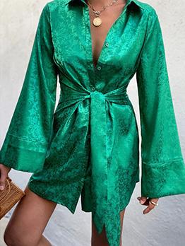 Solid Autumn Latest Style Long Sleeve Dress