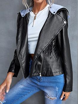 Hooded Detachable Casual Pu Jackets Women