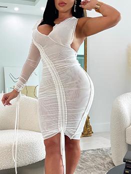 Sexy Designer White V Neck Ruched Long Sleeve Dress