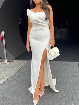 Elegant White Slit Strapless Maxi Party Dress