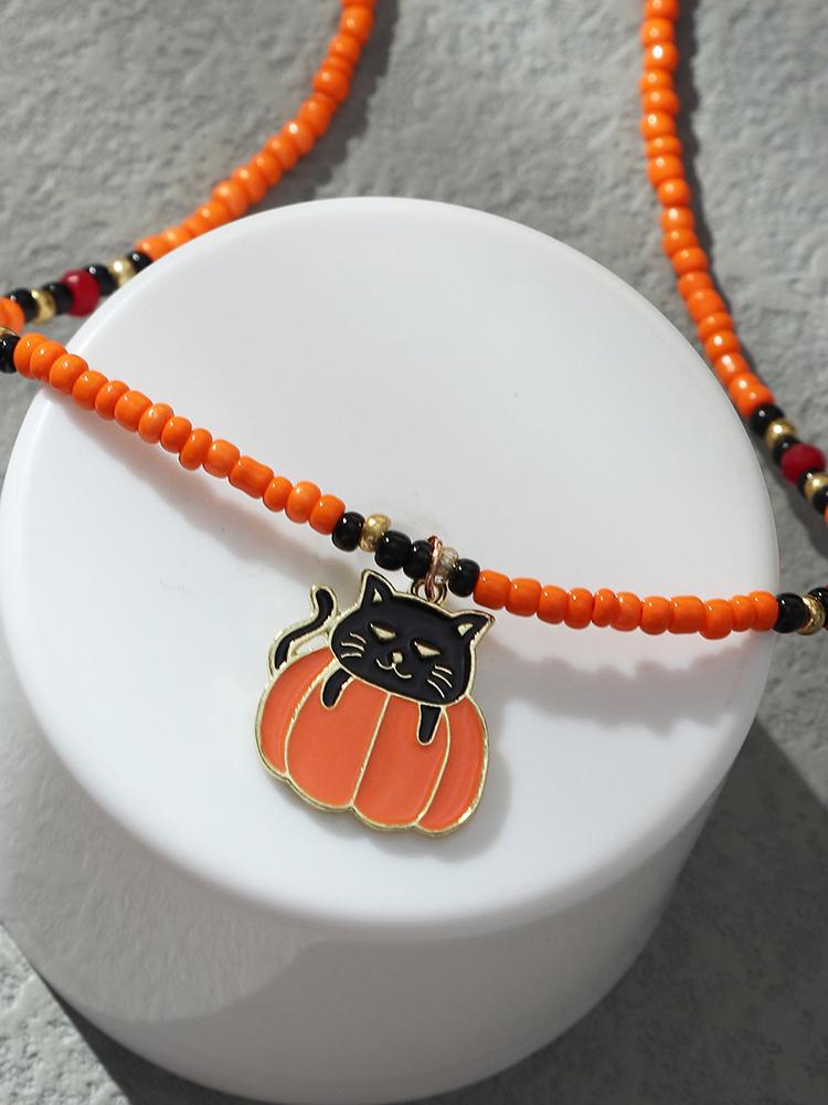 Pumpkin Black Cat Hat Beads Halloween Necklaces