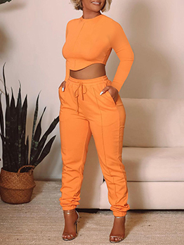 Leisure Solid Cropped Top 2 Piece Pant Sets