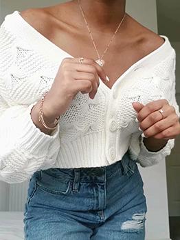 Popular V Neck Single Button Cardigan Sweater