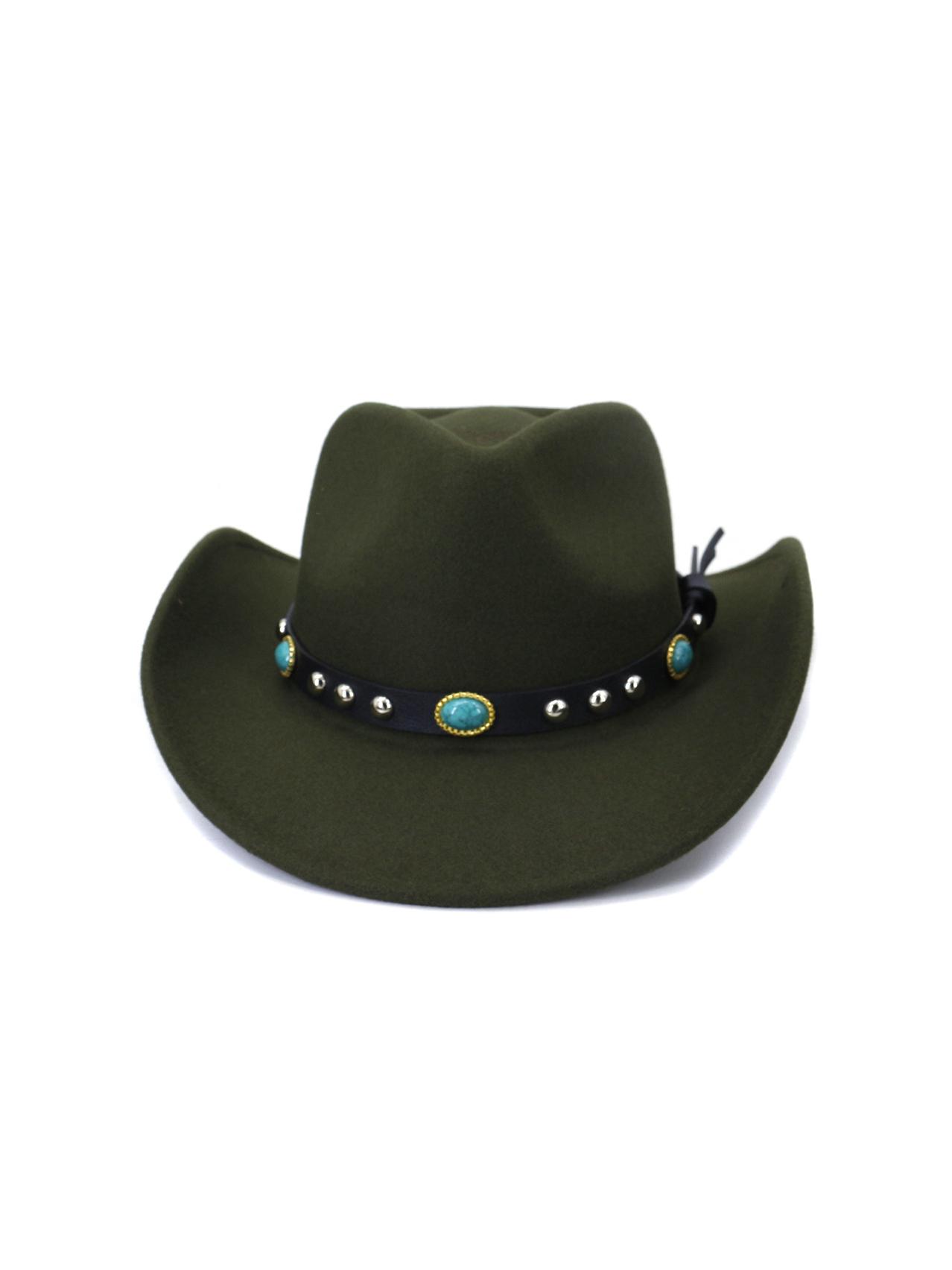Fashion Belt Curling Cowboy Hat Woolen Hat