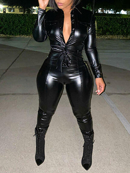 Sexy Plain Black Long Sleeve Pu Jumpsuit
